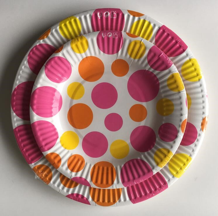 HENGDA Disposable Tableware Party Disposable Colored Paper Plates and Cup Set Disposable Paper Plate image2