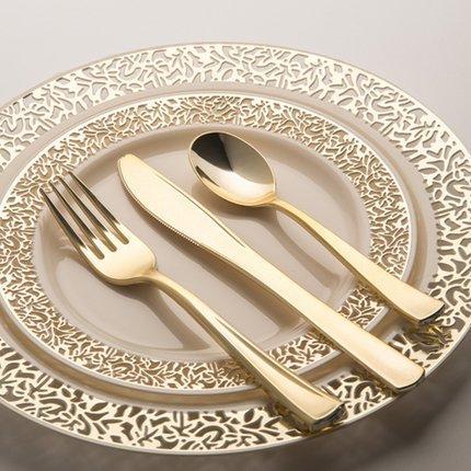 Hot high grade elegant wedding plates hotstamping HENGDA Disposable Tableware Brand