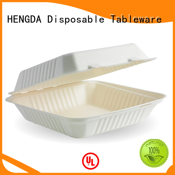 hinged disposable bagasse soup bowls sugarcane for party HENGDA Disposable Tableware