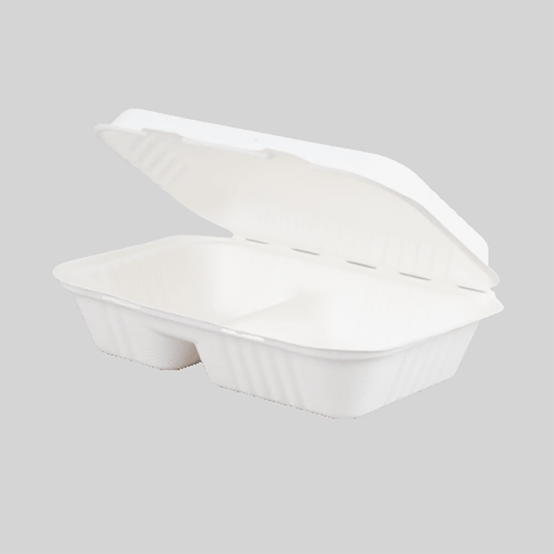 HENGDA Disposable Tableware Biodegradable and Compostable Sugarcane Bagasse Hinged Container Bagasse Bowl/Container image5