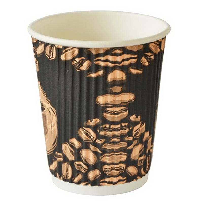 HENGDA Disposable Tableware Ripple Wall Custom Disposable Printed Paper Coffee Cup Disposable Paper Cup image3
