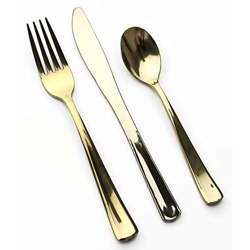 HENGDA Disposable Tableware DM-2KFS Silver and Gold Plastic Cutlery Elegant Disposable Dinnerware image5