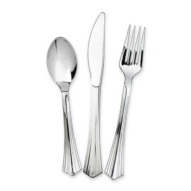 DM-3KFS Silver and Gold Plastic Cutlery