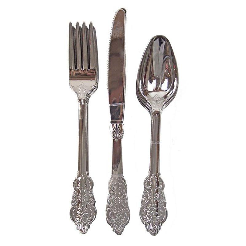 DM-6KFS Silver and Gold Plastic Cutlery