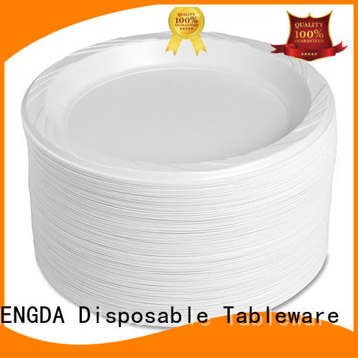 white 100% food grade disposable plates and cutlery for parties white wholesale plastic plates HENGDA Disposable Tableware Brand ps
